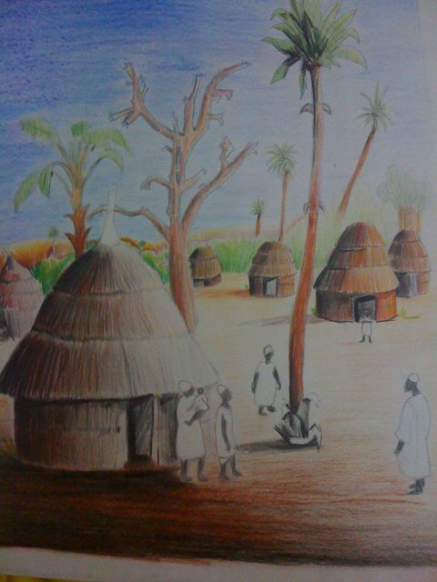 African Village Drawing African Village 3