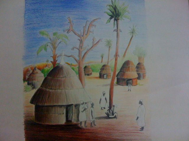 African Village Drawing African Village 2